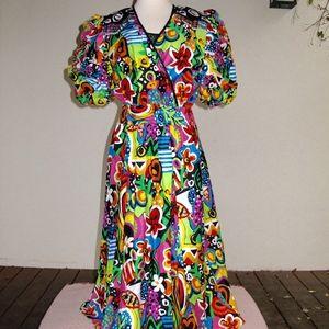 Diane Freis Bold Cotton Sateen Dress New S to M